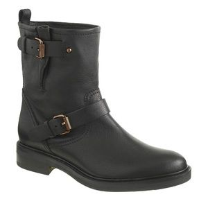 J. Crew Motorcycle Black Leather Biker Boots A9809